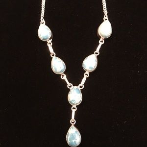 LARIMAR NECKLACE Gorgeous Blue, Sterling plated!